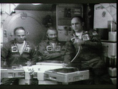 Skylab 3 crewmen during press conference while in Earth's orbit