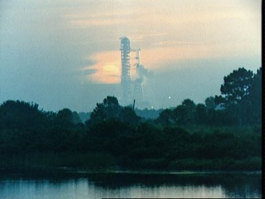 Sunrise view launch Pad B, Launch Complex 39 on morning of launch