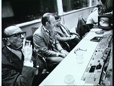 Flight Operations Director's console in Mission Control during Skylab 4