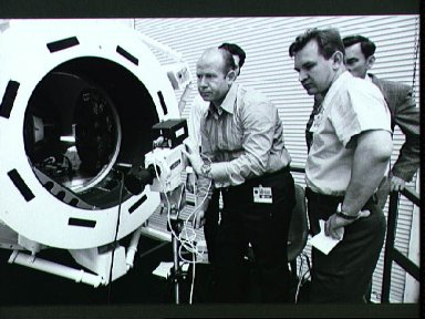 Cosmonaut Aleksey Leonov during training with television camera at JSC