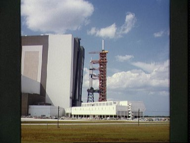 Saturn 1B space vehicle for ASTP moves from VAB to launch complex