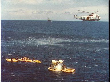 ASTP Apollo Command Module awaits pickup by prime recovery ship