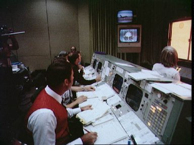 View of Mission Control during first Shuttle Approach and Landing Tests