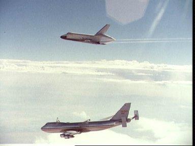 """Orbiter """"Enterprise"""" soars above the NASA 747 carrier"""