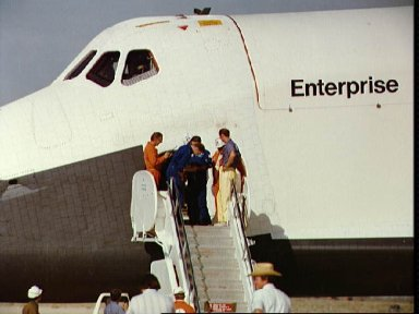 """Astronauts Engle and Truly following egress Shuttle Orbiter 101 """"Enterprise"""