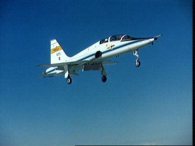 NASA T-38 trainer aicrcraft coming in for a landing