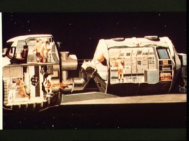 Artist conception of Shuttle carrying Spacelab with views of personnel