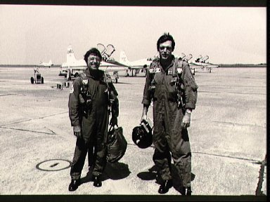 Astronaut candidate Francis R. Scobee and T-38 trainer on Ellington runway