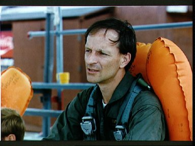 Portrait view of Astronaut Claude Nicollier during water egress training
