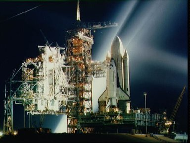 STS-1 Columbia on pad preparing for Flight Readiness firing