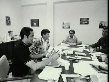 STS-1 Prime crew debriefing activities with the Backup crew