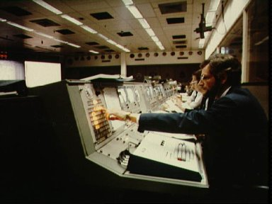 Public Affairs console in Mission Control during STS-1