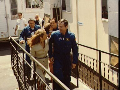 Crew activities around the orbiter after the landing of STS-1
