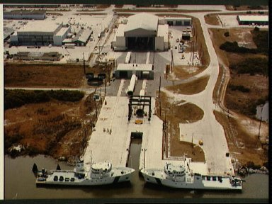 Aerial view of Hanger AF at Cape Canaveral Air Force Station