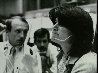 Astronaut Sally Ride at the CapCom console during STS-2 simulation