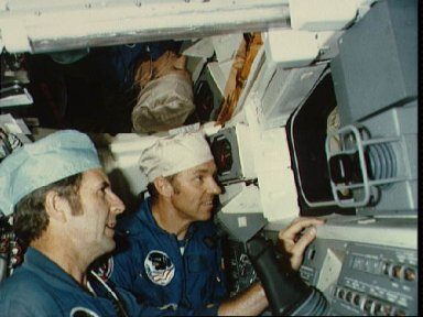 STS-2 crew, Engle and Truly at the aft RMS work station during OIT