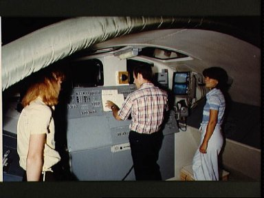 Astronaut Terry J. Hart in training session RMS for STS-2 bldg 29