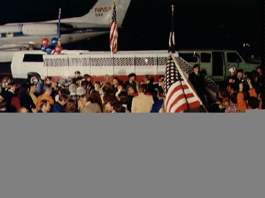 Views of the STS-2 crew arrival at Ellington AFB, and with V.P. George Bush