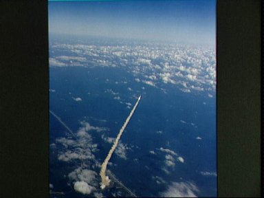 Aerial views of the STS-2 launch from Pad 39A at Kennedy Space Center