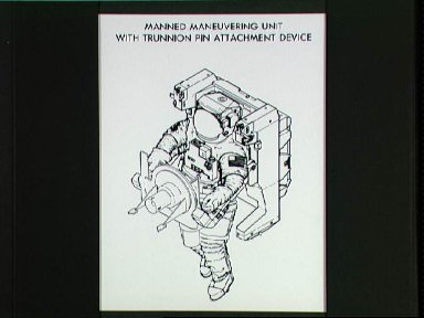 Artist concept of astronaut wearing MMU and with Trunnion Pin Attachment