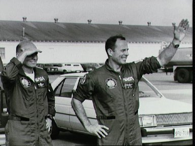 Views of STS-3 crew during departure activites at Ellington with family
