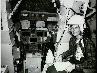 STS-3 crewman Lousma and Fullerton in SMS, joined by Mrs. Fullerton