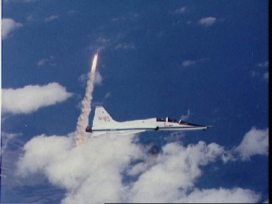 Air-to-air views of STS-3 launch from T-38 chase aircraft