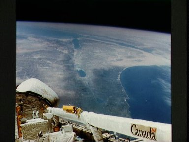 View of the Columbia's aft section while over Mediterranean Sea