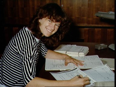 Mission Specialist/Astronaut Sally Ride goes over post-flight data STS-3