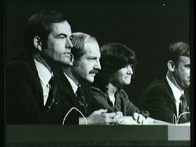 STS-7 and 8 crews during press conference 04-29-82
