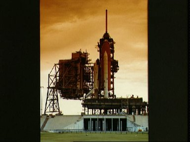 Views of the Columbia sitting on Pad 39A, following rollout for STS-4