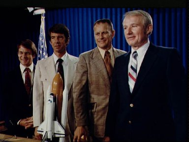 View of the STS-5 crew during preflight press conference in bldg 2