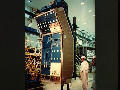 View of the JSC Life Sciences Minilab being installed as first rack Spacelab