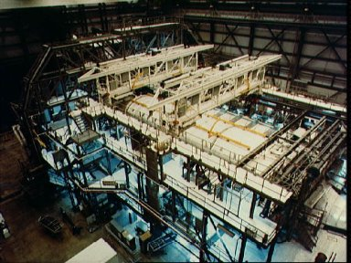 Challenger in the OPF facility at KSC