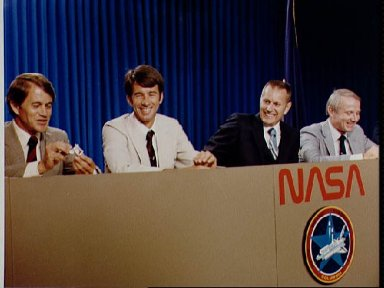 STS-5 crew during pre-flight press briefing