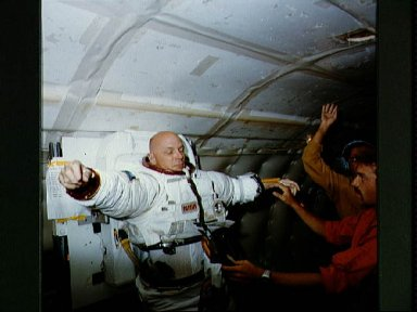 STS-6 crew member F. Story Musgrave during suit donning and doffing training