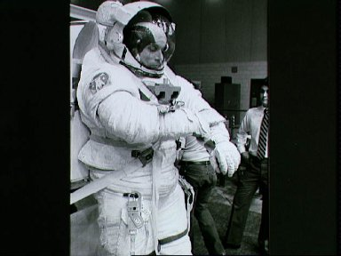 Astronaut Story Musgrave during final stages of exercise in the WETF
