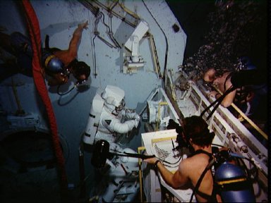 Astronauts Lenoir and Allen get in some training in the WETF