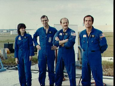 Some of the STS-7 crewmembers greet press representatives at KSC