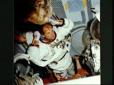 Dr. Norman Thagard, crewmember for STS-7, during training on the KC-135