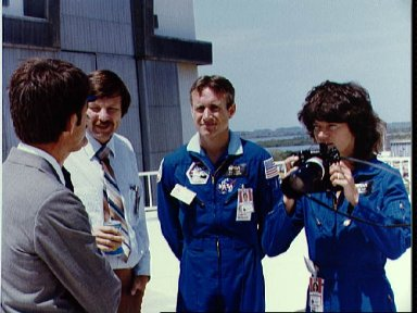 Astronaut Sally Ride records some pre-launch activites at KSC