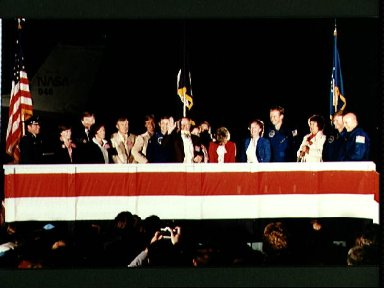 STS-6 crew arrival at Ellington Air Force Base at end of mission