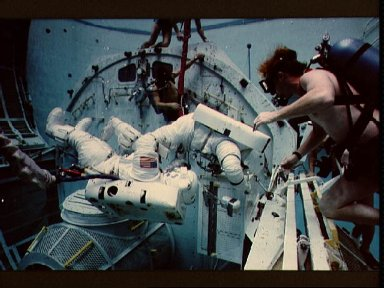 Underwater EVA training for some of the crew of STS-9