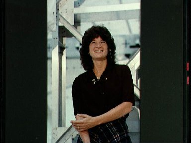 Astronaut Sally Ride responds to question from interviewer