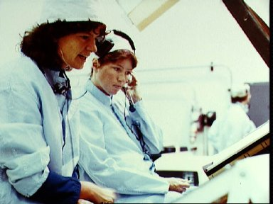 Astronaut Sally K. Ride participates in a mission sequence test for STS-7