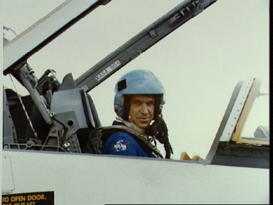 Views of the STS-7 crew in T-38 aircraft preparing for departure at Ellington