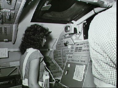 STS 41-D mission specialist Judith Resnik trains on the RMS