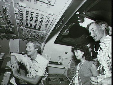 STS 41-D mission crew training in Shuttle Mission simulator