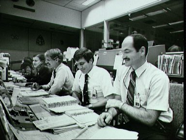 Views from the mission control center during STS-7