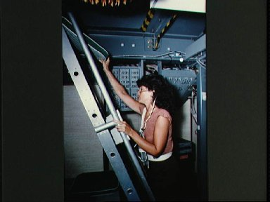 Views of the STS 41-D mission crew training on the SMS